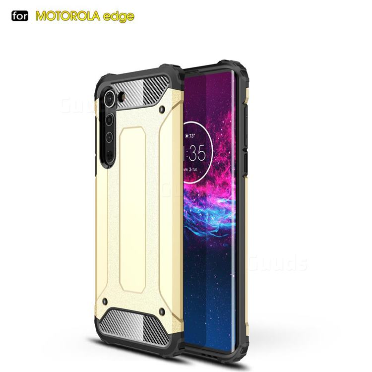King Kong Armor Premium Shockproof Dual Layer Rugged Hard Cover for Moto Motorola Edge - Champagne Gold