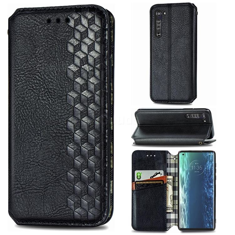 Ultra Slim Fashion Business Card Magnetic Automatic Suction Leather Flip Cover for Moto Motorola Edge - Black