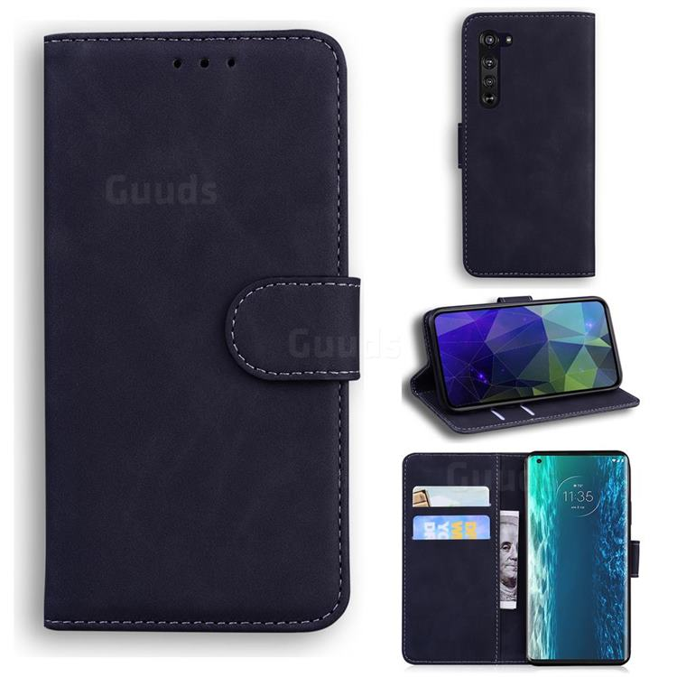 Retro Classic Skin Feel Leather Wallet Phone Case for Moto Motorola Edge - Black