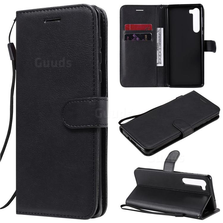 Retro Greek Classic Smooth PU Leather Wallet Phone Case for Moto Motorola Edge - Black