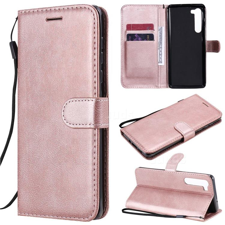 Retro Greek Classic Smooth PU Leather Wallet Phone Case for Moto Motorola Edge - Rose Gold