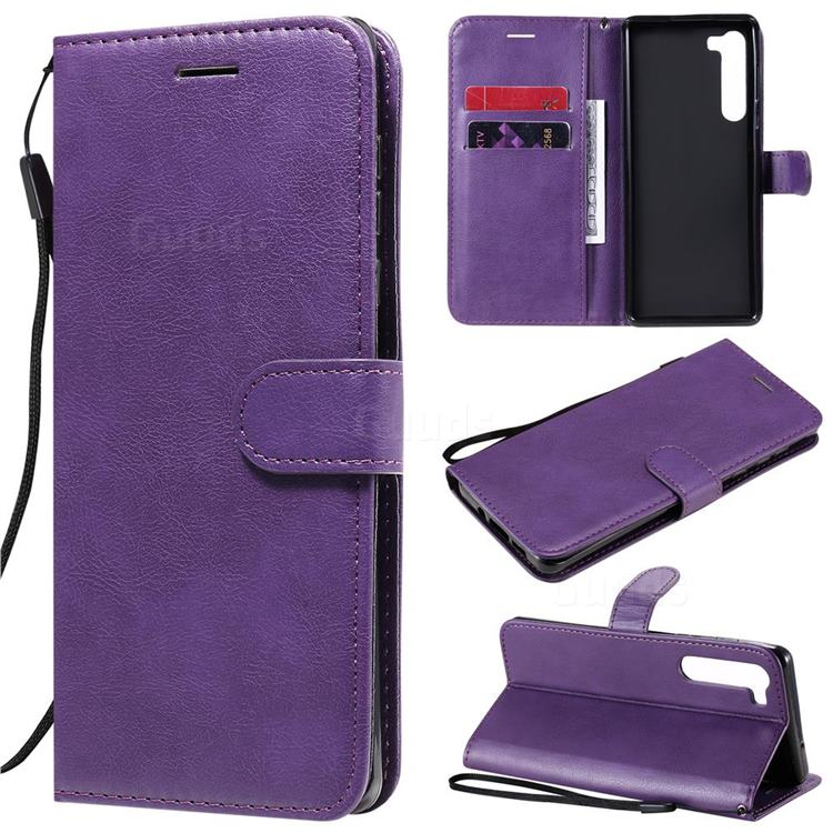 Retro Greek Classic Smooth PU Leather Wallet Phone Case for Moto Motorola Edge - Purple