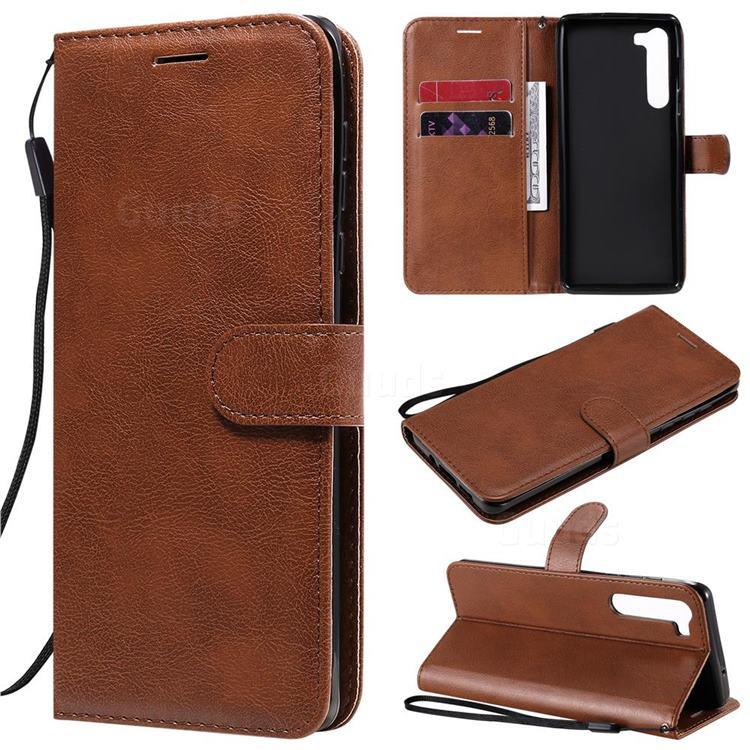 Retro Greek Classic Smooth PU Leather Wallet Phone Case for Moto Motorola Edge - Brown