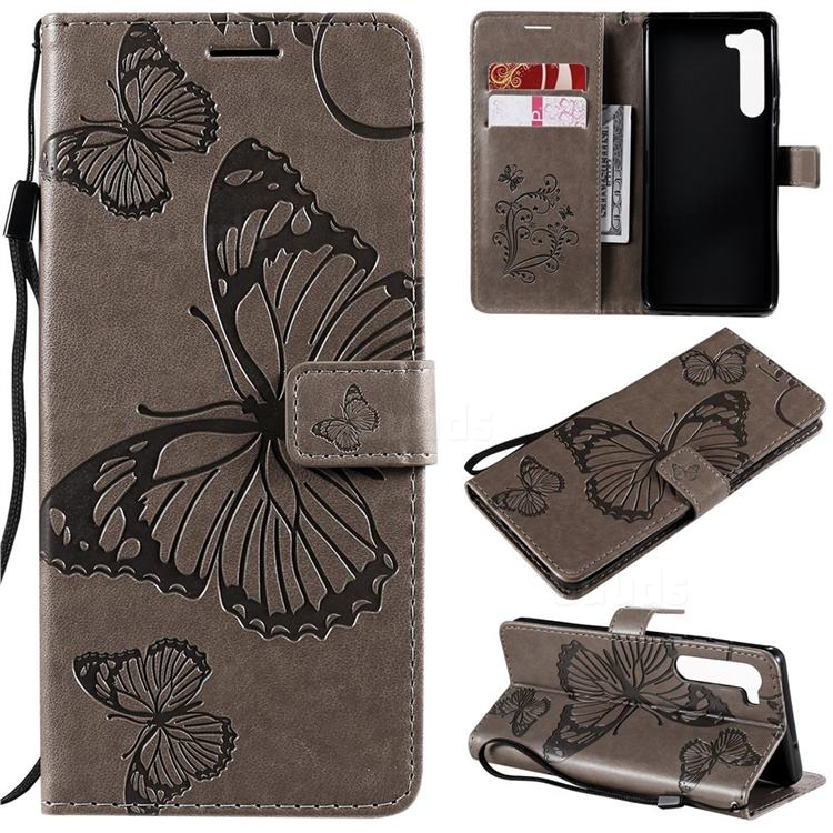 Embossing 3D Butterfly Leather Wallet Case for Moto Motorola Edge - Gray