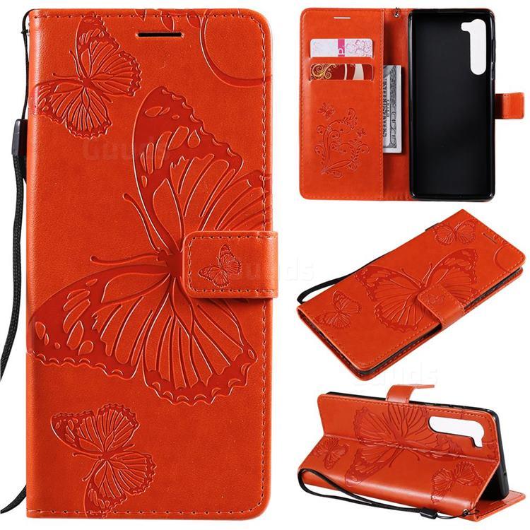 Embossing 3D Butterfly Leather Wallet Case for Moto Motorola Edge - Orange