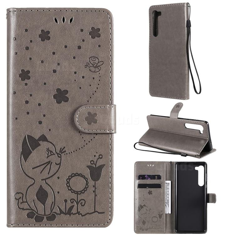 Embossing Bee and Cat Leather Wallet Case for Moto Motorola Edge - Gray