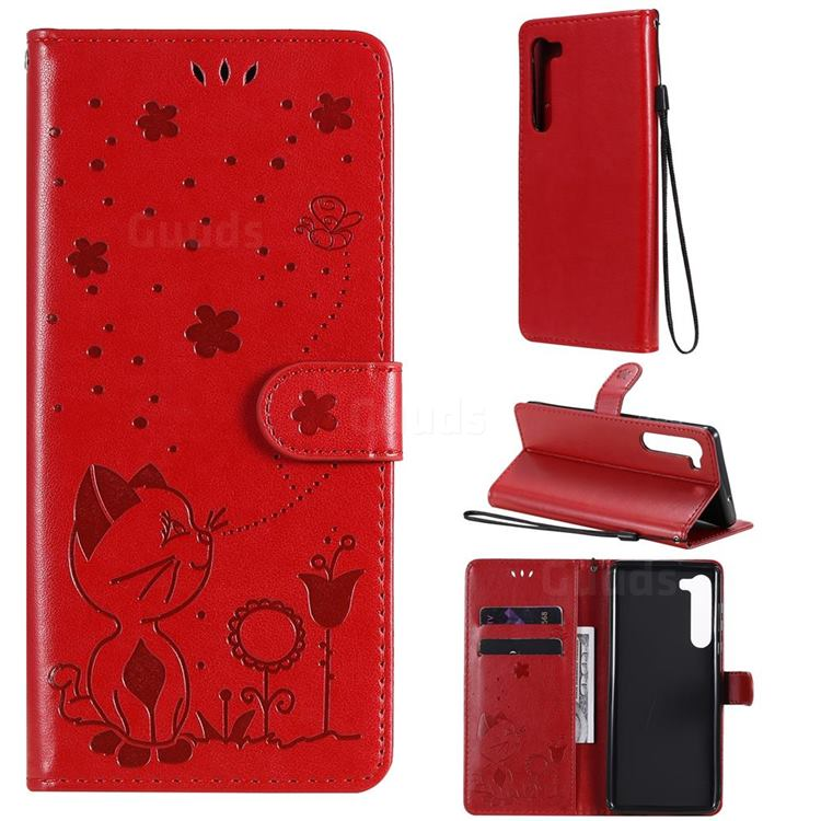 Embossing Bee and Cat Leather Wallet Case for Moto Motorola Edge - Red