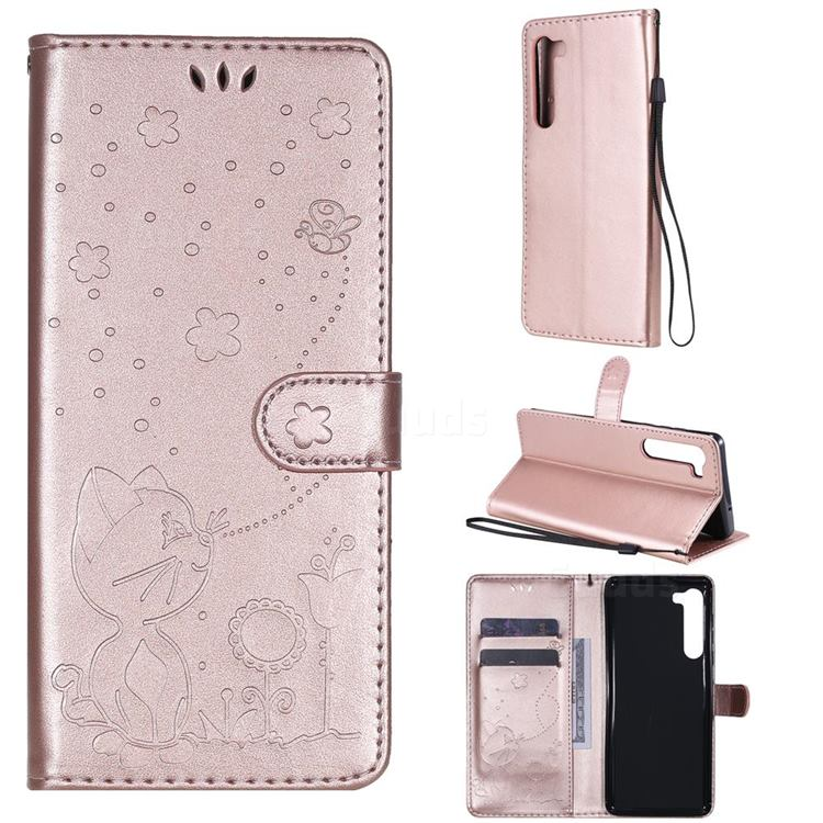 Embossing Bee and Cat Leather Wallet Case for Moto Motorola Edge - Rose Gold