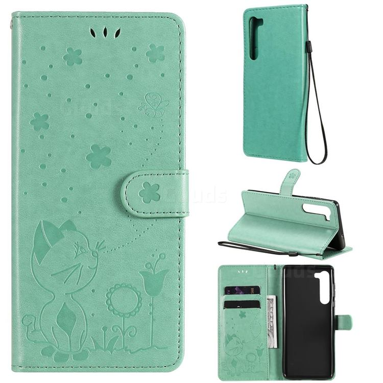 Embossing Bee and Cat Leather Wallet Case for Moto Motorola Edge - Green