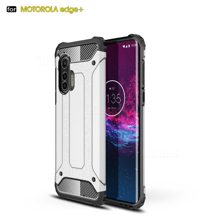 King Kong Armor Premium Shockproof Dual Layer Rugged Hard Cover for Moto Motorola Edge Plus - White