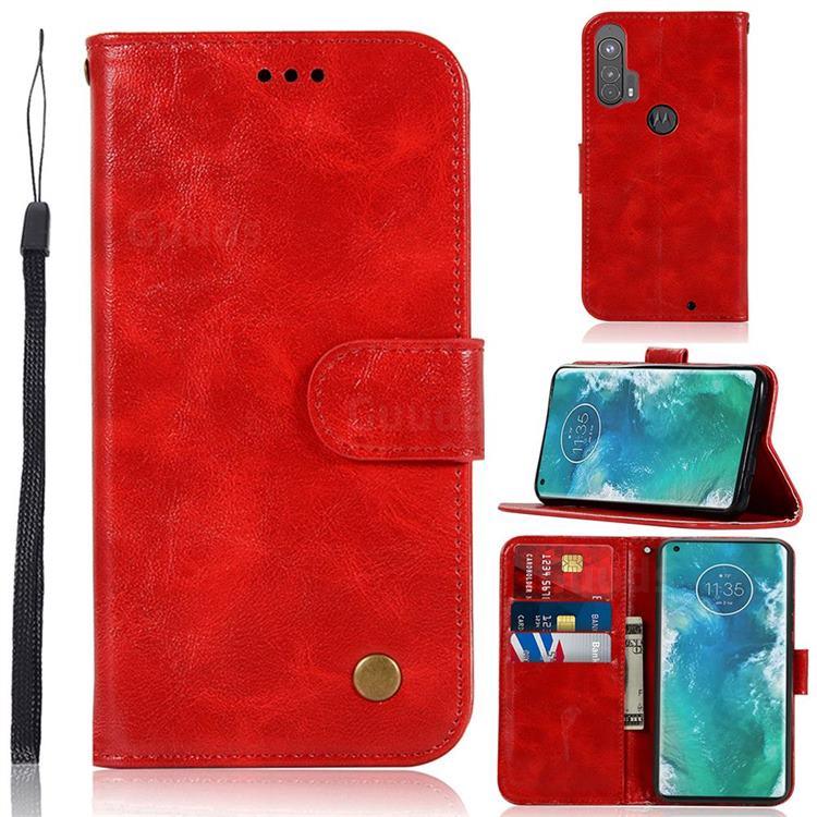 Luxury Retro Leather Wallet Case for Moto Motorola Edge Plus - Red