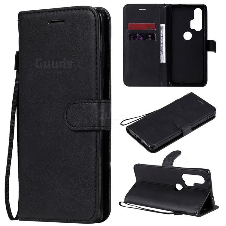 Retro Greek Classic Smooth PU Leather Wallet Phone Case for Moto Motorola Edge Plus - Black