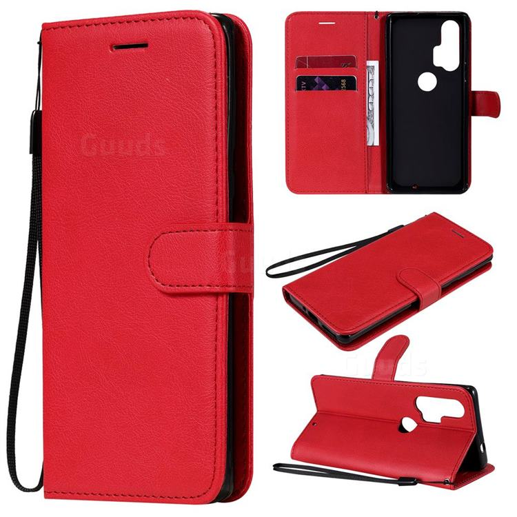 Retro Greek Classic Smooth PU Leather Wallet Phone Case for Moto Motorola Edge Plus - Red
