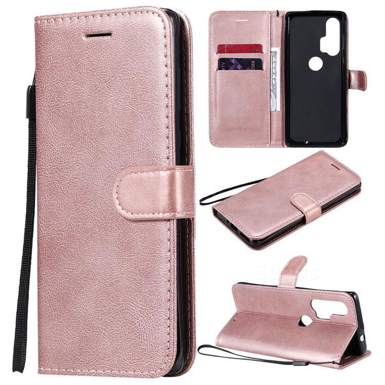 Retro Greek Classic Smooth PU Leather Wallet Phone Case for Moto Motorola Edge Plus - Rose Gold