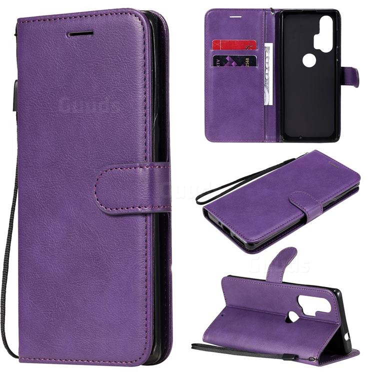 Retro Greek Classic Smooth PU Leather Wallet Phone Case for Moto Motorola Edge Plus - Purple