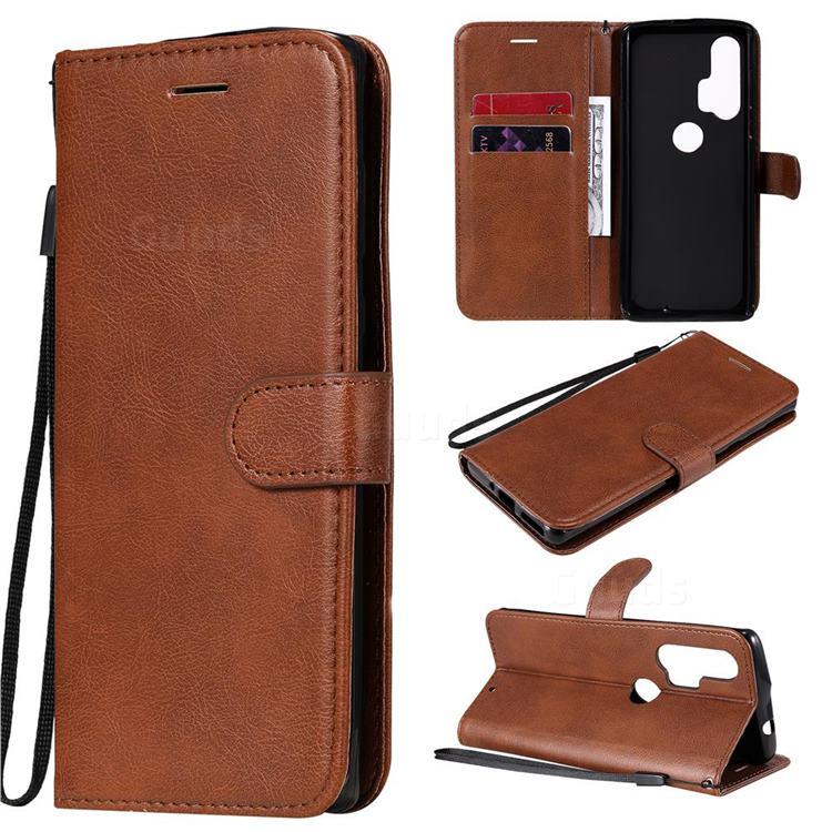 Retro Greek Classic Smooth PU Leather Wallet Phone Case for Moto Motorola Edge Plus - Brown