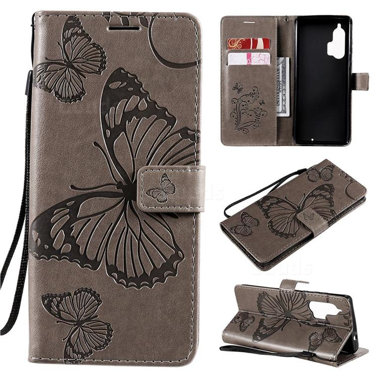 Embossing 3D Butterfly Leather Wallet Case for Moto Motorola Edge Plus - Gray
