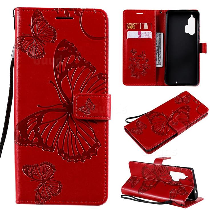 Embossing 3D Butterfly Leather Wallet Case for Moto Motorola Edge Plus - Red