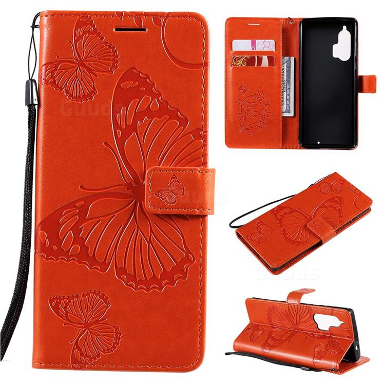 Embossing 3D Butterfly Leather Wallet Case for Moto Motorola Edge Plus - Orange