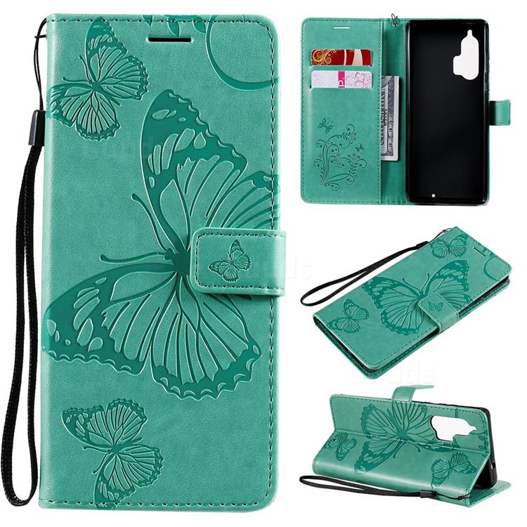 Embossing 3D Butterfly Leather Wallet Case for Moto Motorola Edge Plus - Green