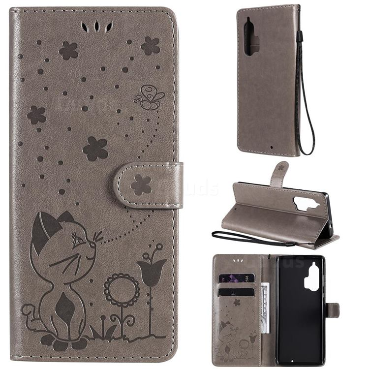 Embossing Bee and Cat Leather Wallet Case for Moto Motorola Edge Plus - Gray