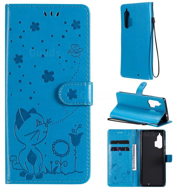 Embossing Bee and Cat Leather Wallet Case for Moto Motorola Edge Plus - Blue