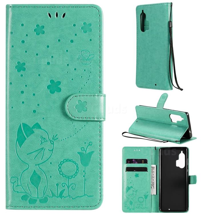 Embossing Bee and Cat Leather Wallet Case for Moto Motorola Edge Plus - Green