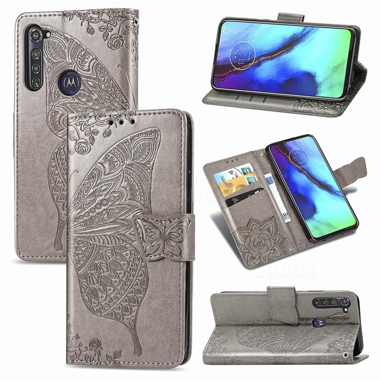 Embossing Mandala Flower Butterfly Leather Wallet Case for Motorola Moto G Pro - Gray
