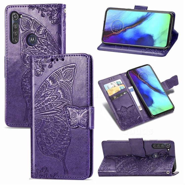 Embossing Mandala Flower Butterfly Leather Wallet Case for Motorola Moto G Pro - Dark Purple