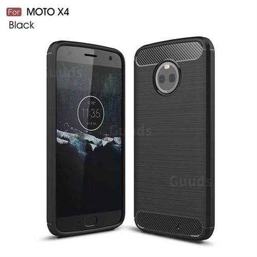 Luxury Carbon Fiber Brushed Wire Drawing Silicone TPU Back Cover for Motorola Moto X4 (4th gen.) (Black)
