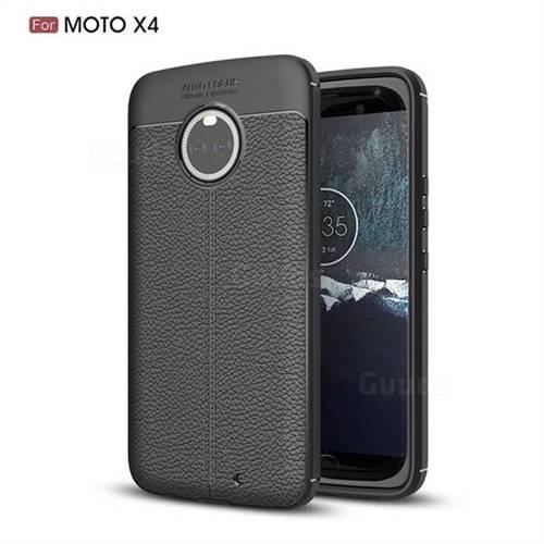 Luxury Auto Focus Litchi Texture Silicone TPU Back Cover for Motorola Moto X4 (4th gen.) - Black
