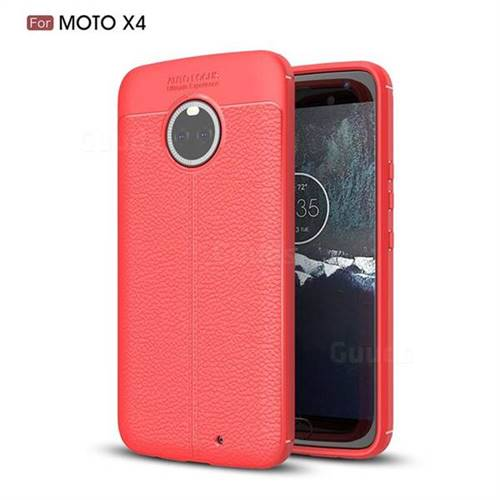 Luxury Auto Focus Litchi Texture Silicone TPU Back Cover for Motorola Moto X4 (4th gen.) - Red