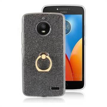 Luxury Soft TPU Glitter Back Ring Cover with 360 Rotate Finger Holder Buckle for Motorola Moto E4 (USA) - Black