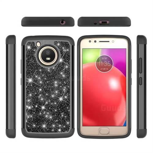 Glitter Rhinestone Bling Shock Absorbing Hybrid Defender Rugged Phone Case Cover for Motorola Moto E4 (USA) - Black