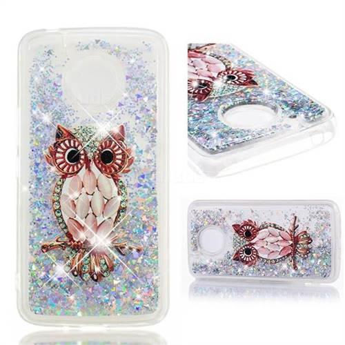 Dynamic Liquid Glitter Quicksand Soft TPU Case for Motorola Moto E4 Plus (USA) - Seashell Owl