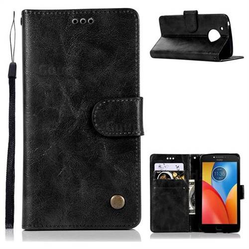 Luxury Retro Leather Wallet Case for Motorola Moto E4 Plus (USA) - Black