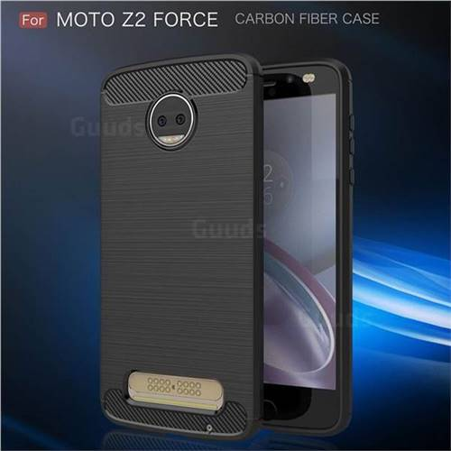 Luxury Carbon Fiber Brushed Wire Drawing Silicone TPU Back Cover for Motorola Moto Z2 Force (Black)