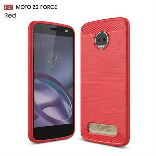 Luxury Carbon Fiber Brushed Wire Drawing Silicone TPU Back Cover for Motorola Moto Z2 Force (Red)