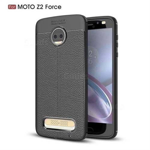 Luxury Auto Focus Litchi Texture Silicone TPU Back Cover for Motorola Moto Z2 Force - Black