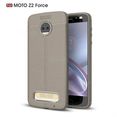 Luxury Auto Focus Litchi Texture Silicone TPU Back Cover for Motorola Moto Z2 Force - Gray