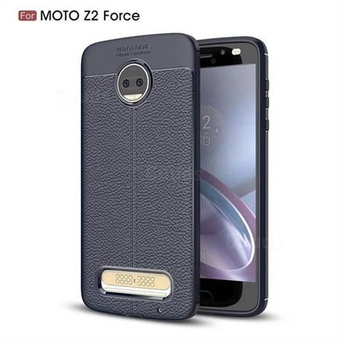 Luxury Auto Focus Litchi Texture Silicone TPU Back Cover for Motorola Moto Z2 Force - Dark Blue