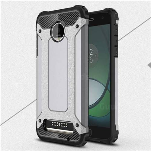 King Kong Armor Premium Shockproof Dual Layer Rugged Hard Cover for Motorola Moto Z Play - Silver Grey