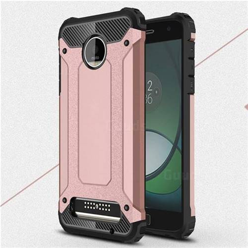 King Kong Armor Premium Shockproof Dual Layer Rugged Hard Cover for Motorola Moto Z Play - Rose Gold