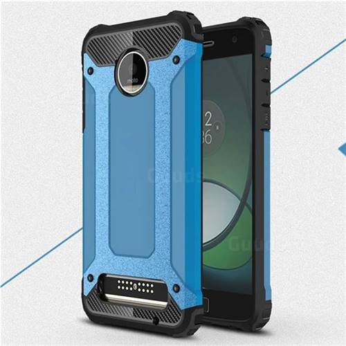 King Kong Armor Premium Shockproof Dual Layer Rugged Hard Cover for Motorola Moto Z Play - Sky Blue