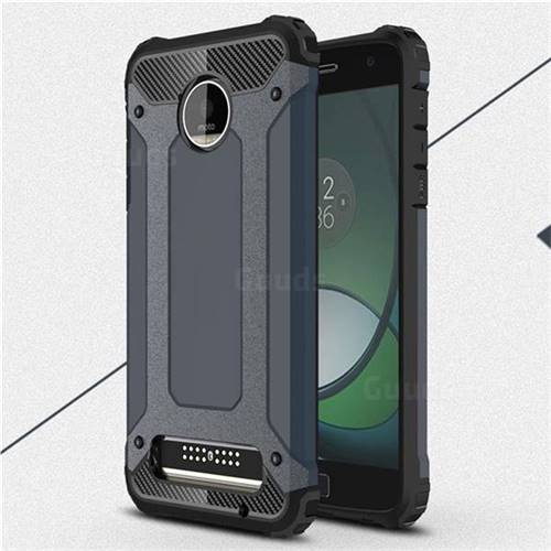 King Kong Armor Premium Shockproof Dual Layer Rugged Hard Cover for Motorola Moto Z Play - Navy