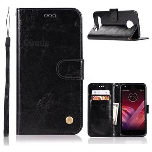 Luxury Retro Leather Wallet Case for Motorola Moto Z Play - Black