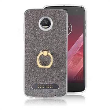 Luxury Soft TPU Glitter Back Ring Cover with 360 Rotate Finger Holder Buckle for Motorola Moto Z2 Play - Black