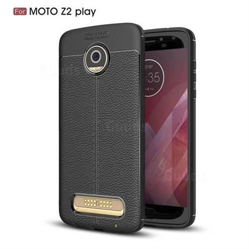 Luxury Auto Focus Litchi Texture Silicone TPU Back Cover for Motorola Moto Z2 Play - Black
