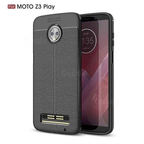 Luxury Auto Focus Litchi Texture Silicone TPU Back Cover for Motorola Moto Z3 Play - Black