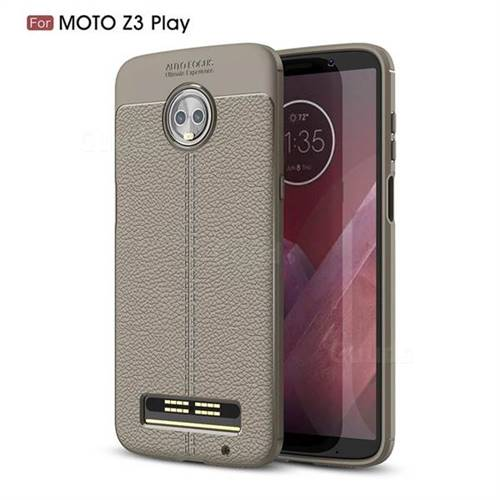 Luxury Auto Focus Litchi Texture Silicone TPU Back Cover for Motorola Moto Z3 Play - Gray